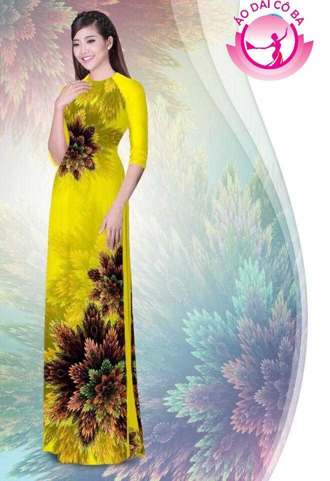 Áo dài truyền thống in hoa 3D mẫu 1.12