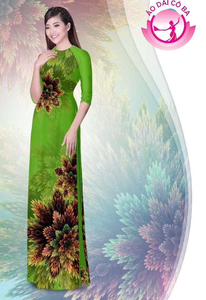 Áo dài truyền thống in hoa 3D mẫu 1.13