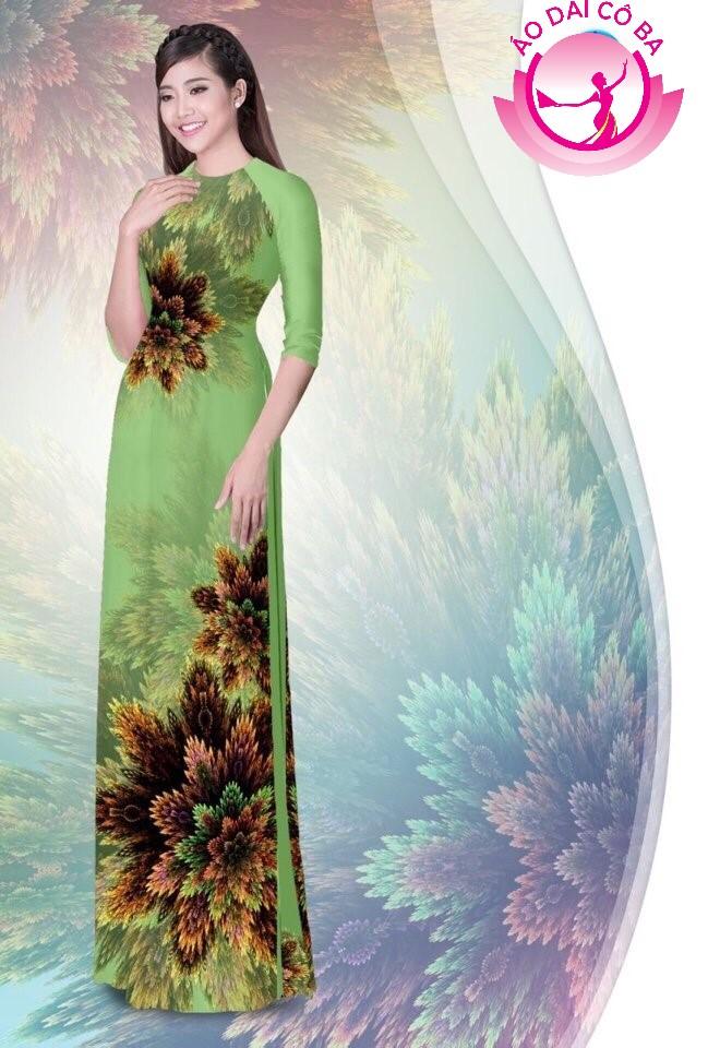 Áo dài truyền thống in hoa 3D mẫu 1.2