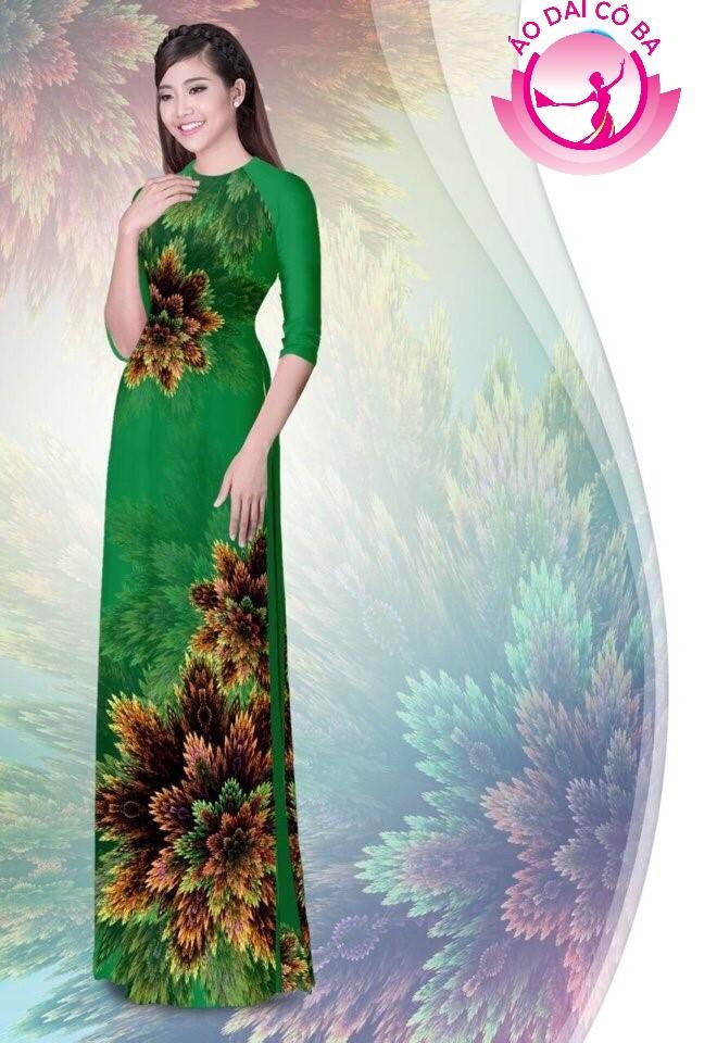 Áo dài truyền thống in hoa 3D mẫu 1.3