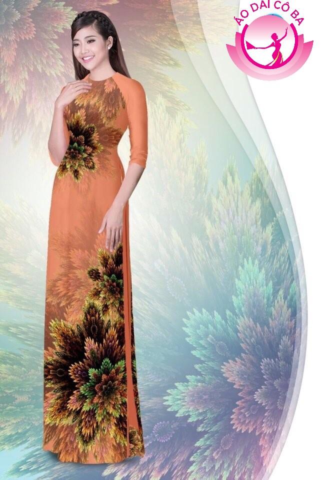 Áo dài truyền thống in hoa 3D mẫu 1.4