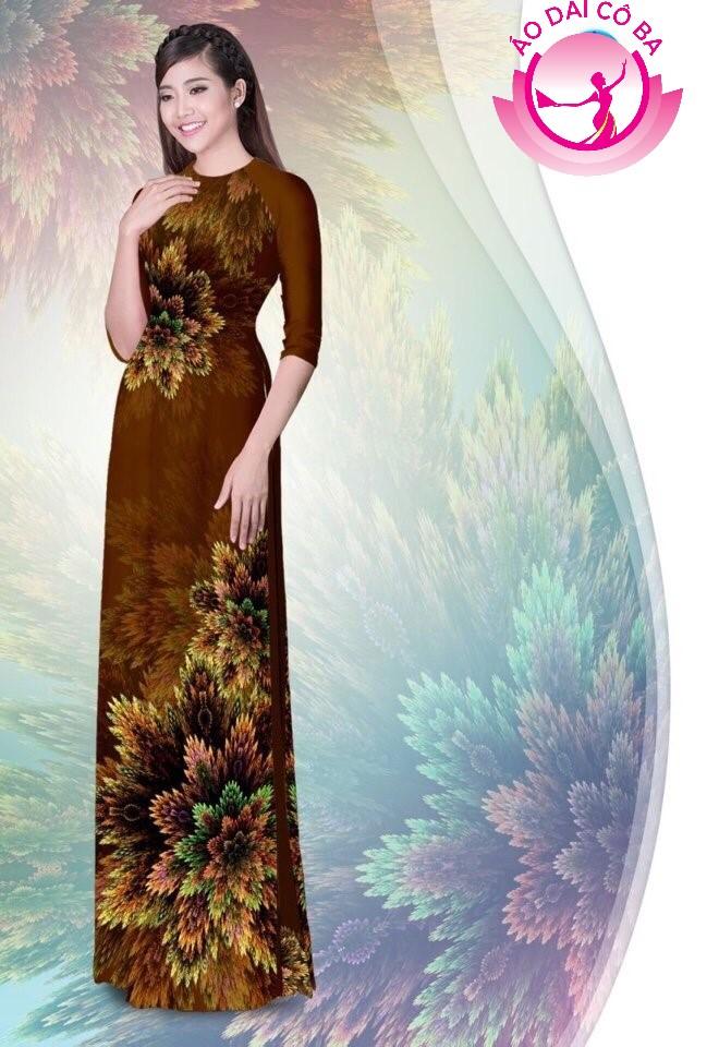 Áo dài truyền thống in hoa 3D mẫu 1.6