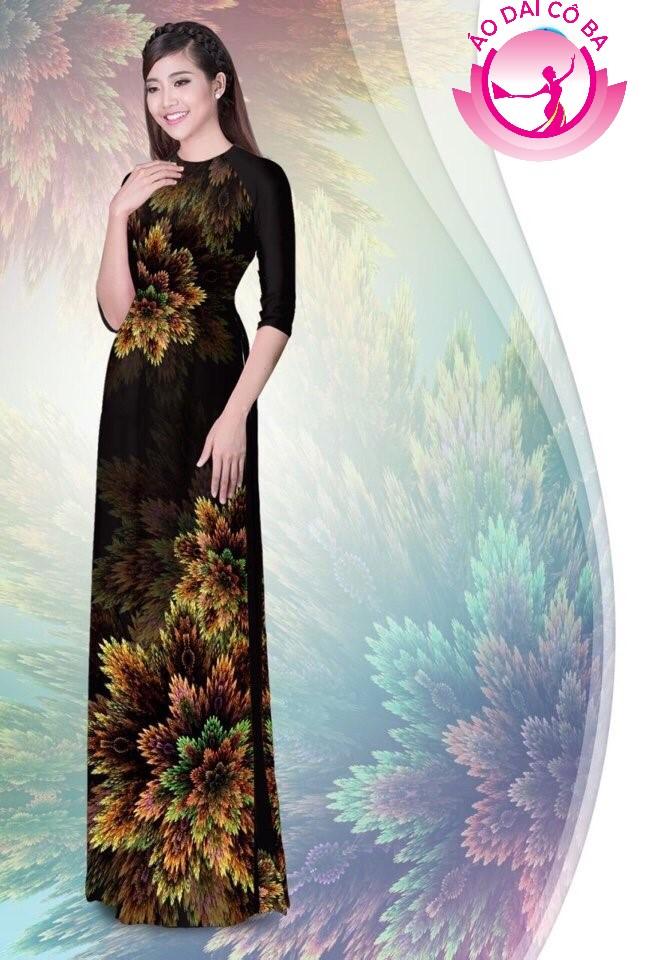 Áo dài truyền thống in hoa 3D mẫu 1.7