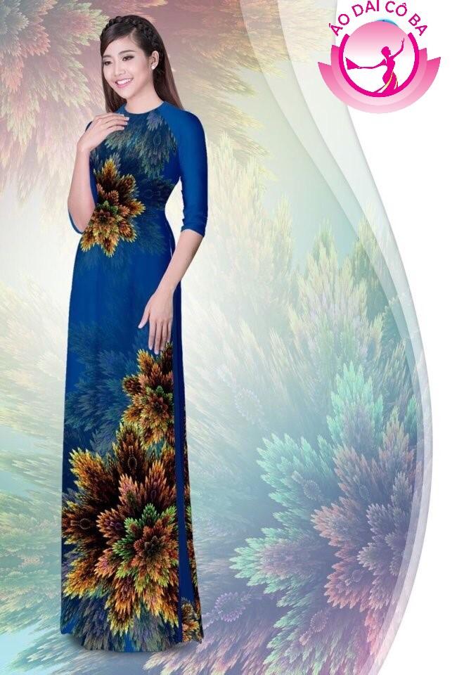 Áo dài truyền thống in hoa 3D mẫu 1.8
