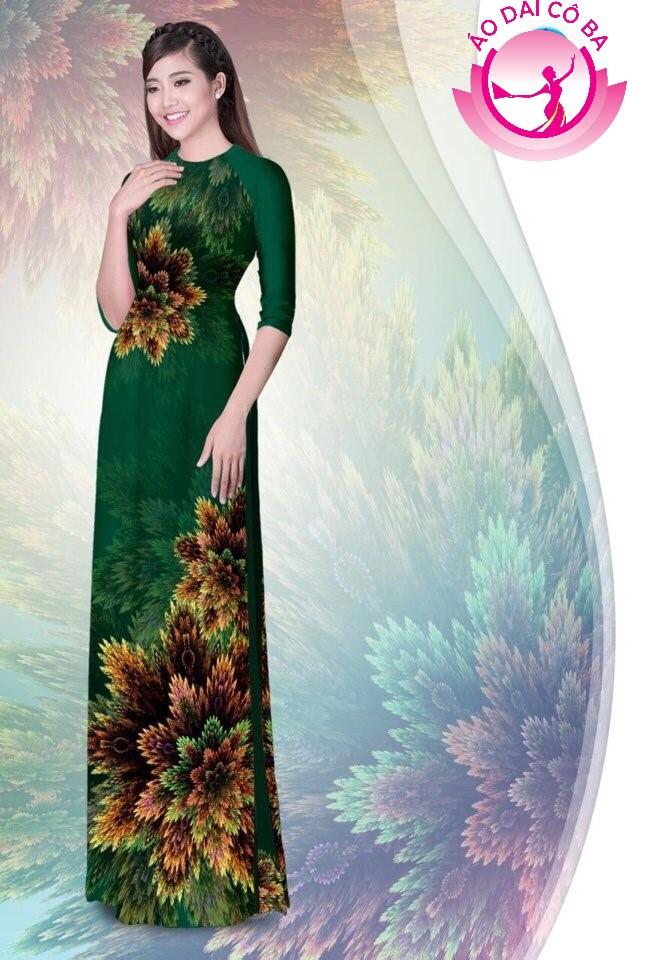 Áo dài truyền thống in hoa 3D mẫu 1.9