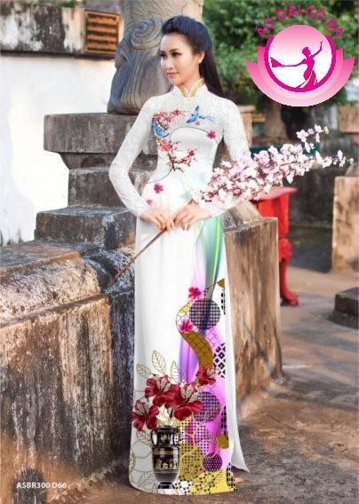 Áo dài truyền thống in hoa 3D mẫu 12
