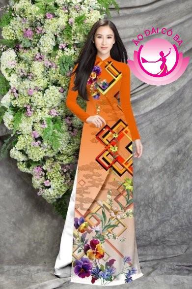 Áo dài truyền thống in hoa 3D mẫu 13