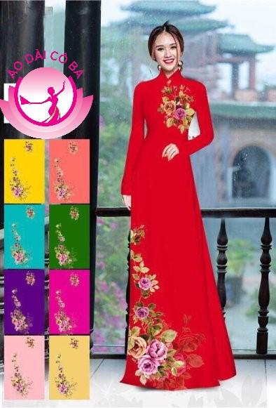 Áo dài truyền thống in hoa 3D mẫu 14