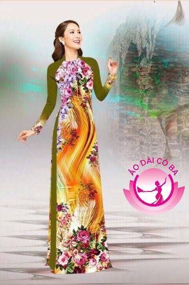 Áo dài truyền thống in hoa 3D mẫu 15