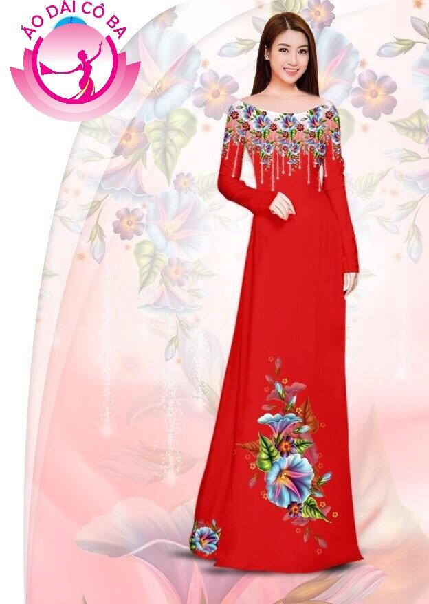 Áo dài truyền thống in hoa 3D mẫu 18