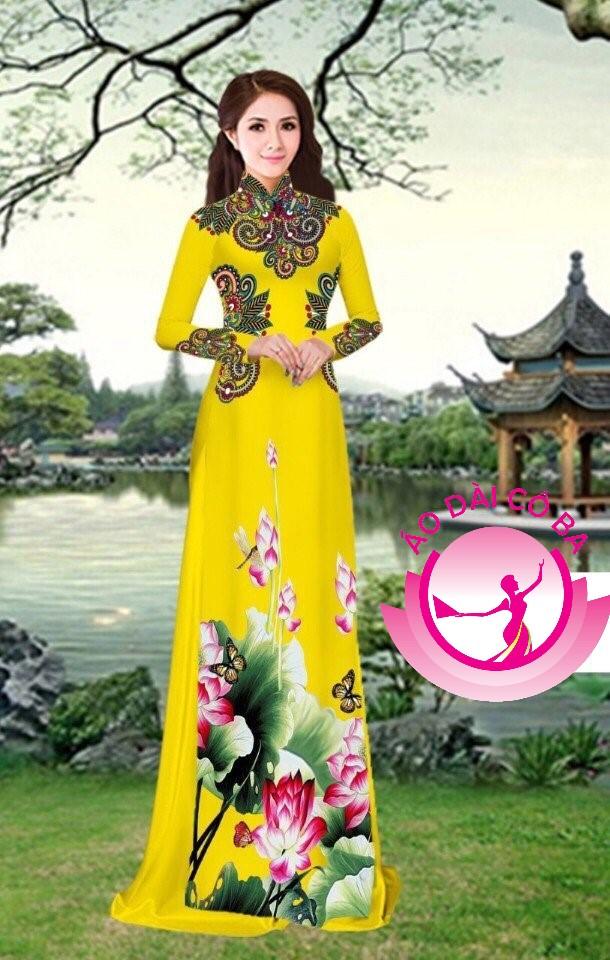 Áo dài truyền thống in hoa 3D mẫu 19