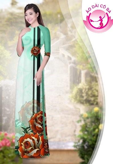 Áo dài truyền thống in hoa 3D mẫu 2
