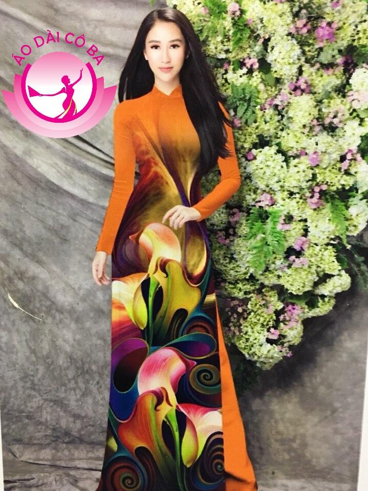 Áo dài truyền thống in hoa 3D mẫu 20