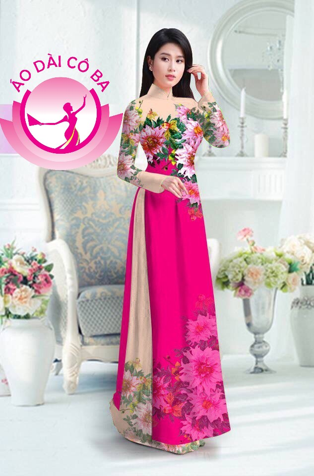 Áo dài truyền thống in hoa 3D mẫu 22