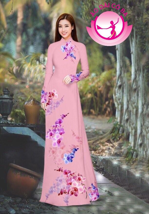 Áo dài truyền thống in hoa 3D mẫu 24