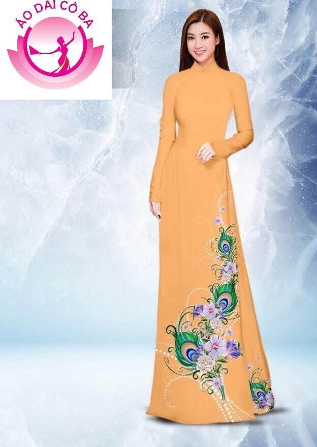 Áo dài truyền thống in hoa 3D mẫu 25