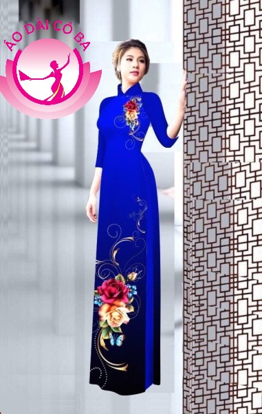Áo dài truyền thống in hoa 3D mẫu 3
