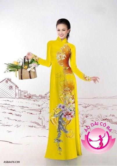 Áo dài truyền thống in hoa 3D mẫu 4