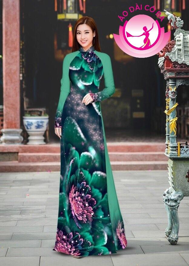Áo dài truyền thống in hoa 3D mẫu 44