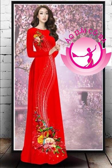 Áo dài truyền thống in hoa 3D mẫu 5