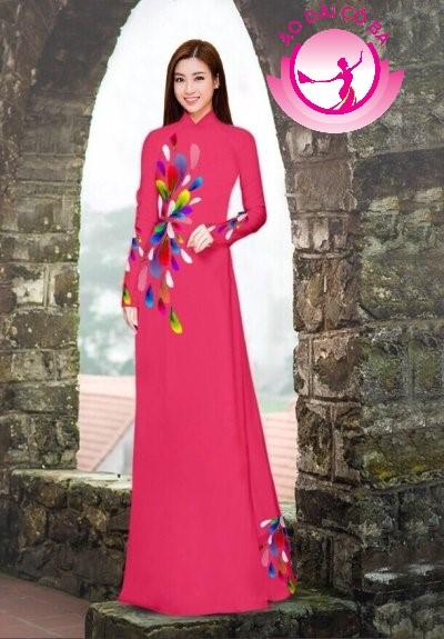 Áo dài truyền thống in hoa 3D mẫu 6