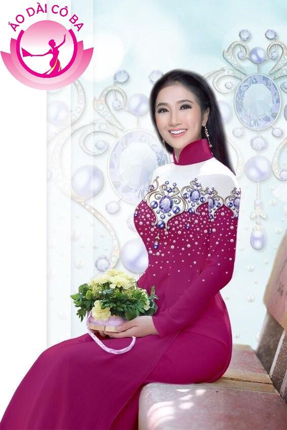 Áo dài truyền thống in hoa 3D mẫu 8