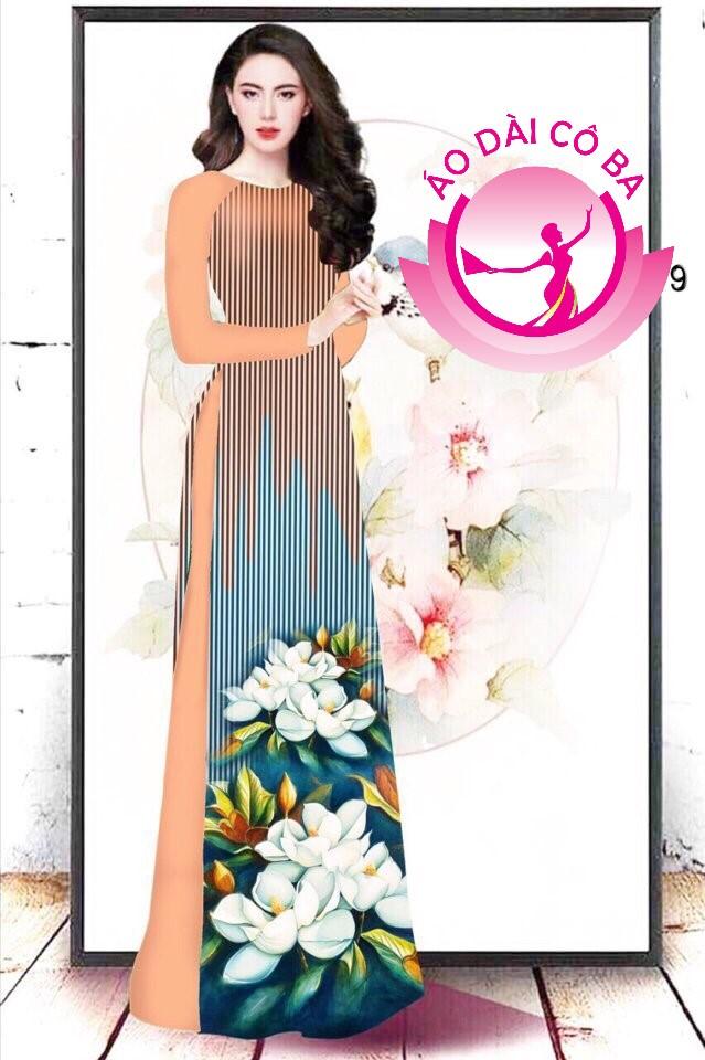 Áo dài truyền thống in hoa 3D mẫu 9