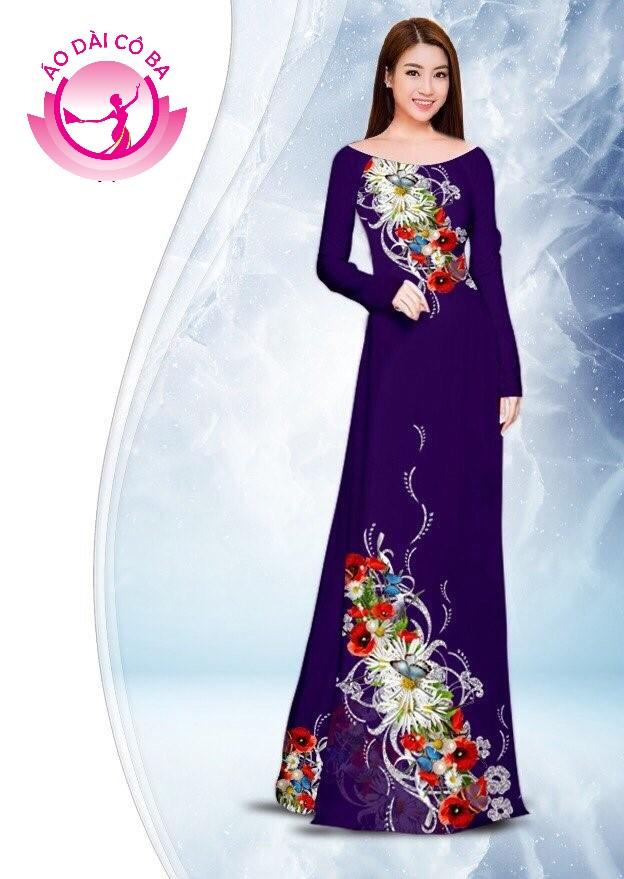 Áo dài truyền thống in hoa anh túc trên dưới mẫu 1