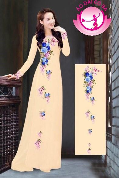 Áo dài truyền thống in hoa cẩm chướng mẫu 1