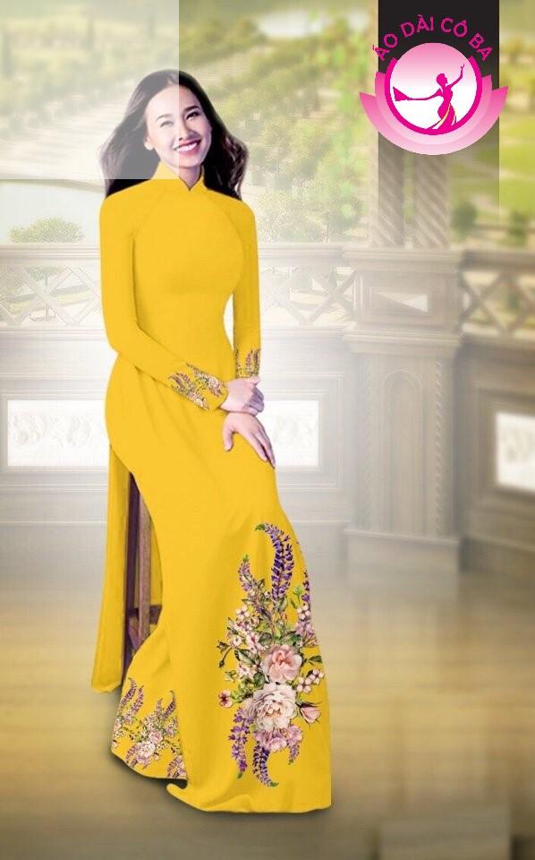 Áo dài truyền thống in hoa cẩm chướng mẫu AD B2797 - Vàng