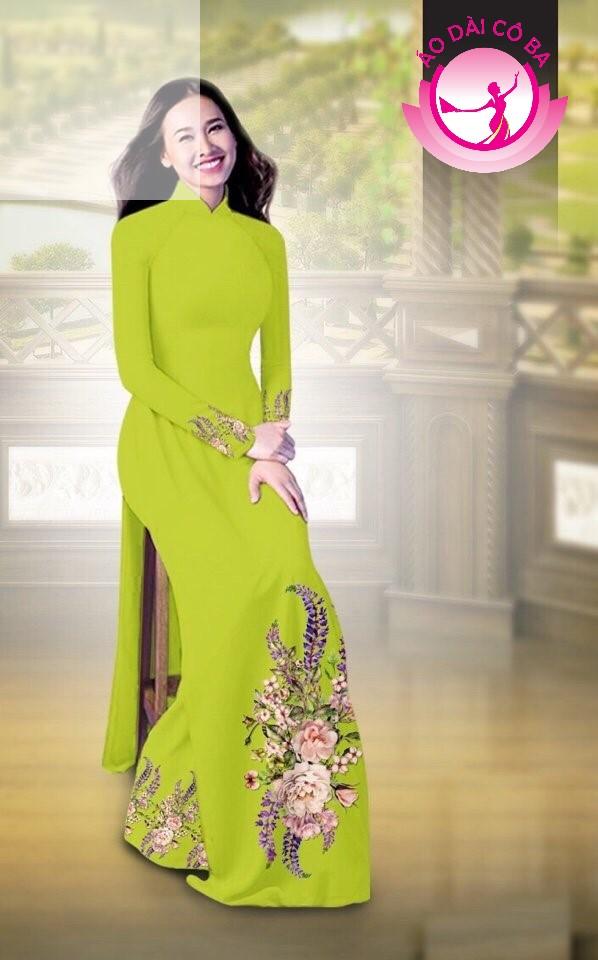 Áo dài truyền thống in hoa cẩm chướng mẫu AD B2797 - Vàng xanh