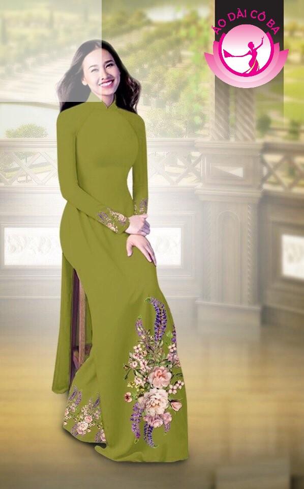 Áo dài truyền thống in hoa cẩm chướng mẫu AD B2797 - Xanh xẫm
