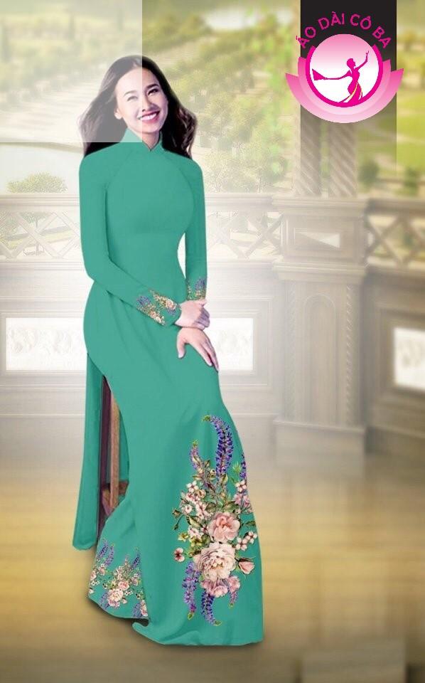 Áo dài truyền thống in hoa cẩm chướng mẫu AD B2797 - Xanh lục