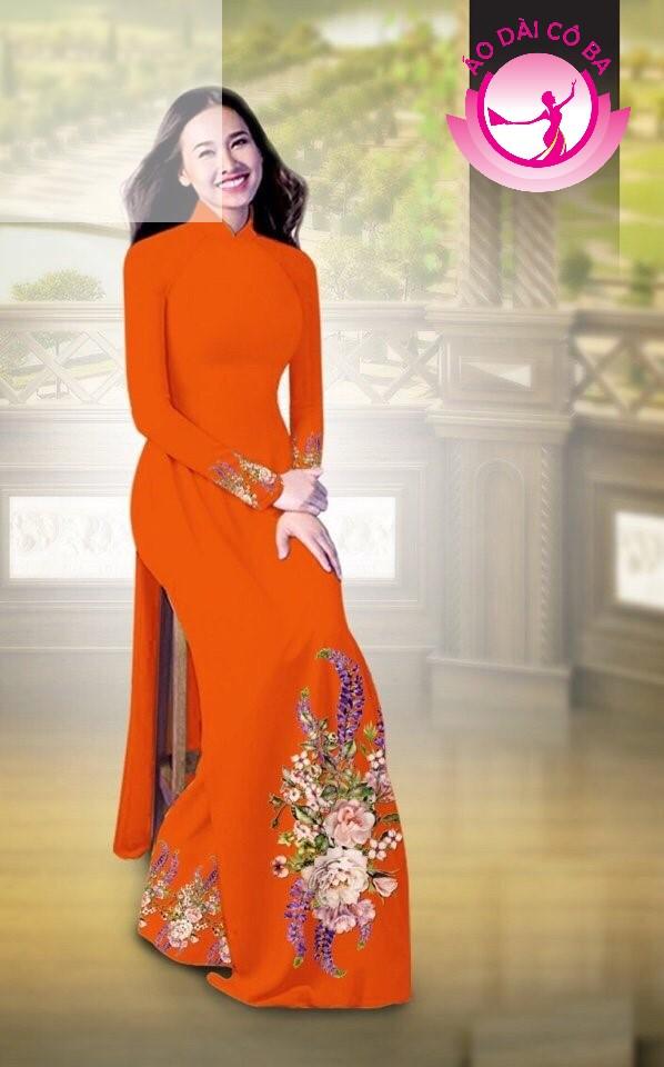 Áo dài truyền thống in hoa cẩm chướng mẫu AD B2797 - Đỏ cam