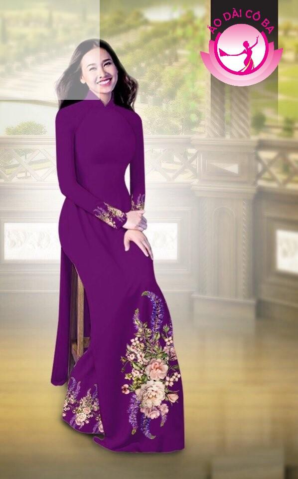 Áo dài truyền thống in hoa cẩm chướng mẫu AD B2797 - Tím