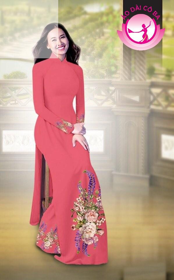 Áo dài truyền thống in hoa cẩm chướng mẫu AD B2797 - Hồng