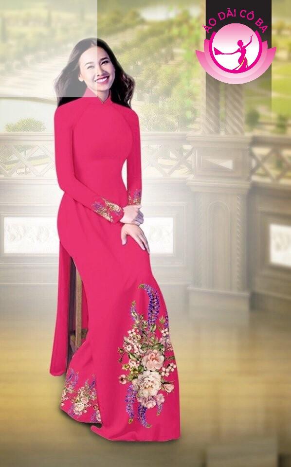 Áo dài truyền thống in hoa cẩm chướng mẫu AD B2797 - Đỏ