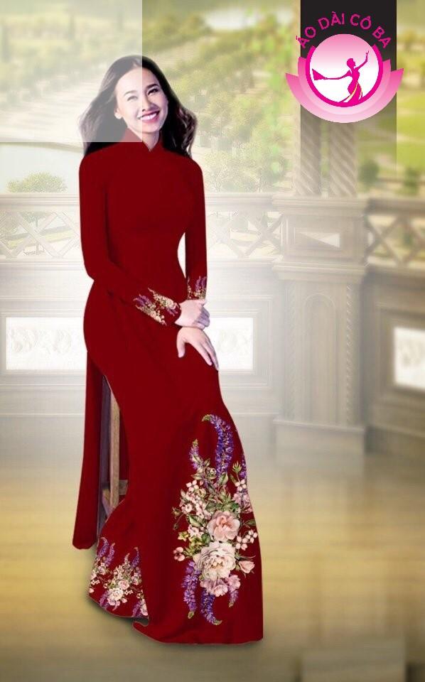 Áo dài truyền thống in hoa cẩm chướng mẫu AD B2797 - Đỏ mận