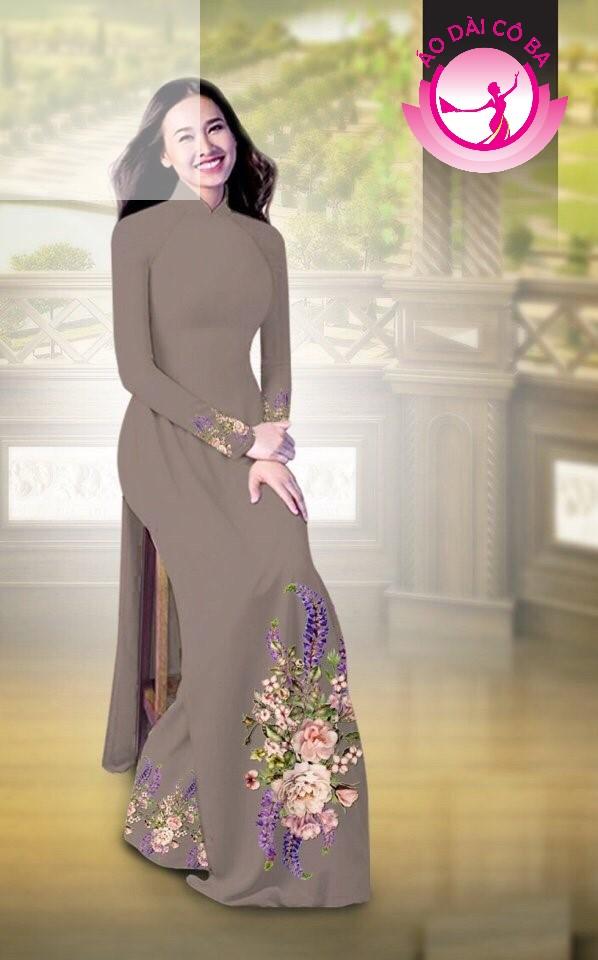 Áo dài truyền thống in hoa cẩm chướng mẫu AD B2797 - Xám