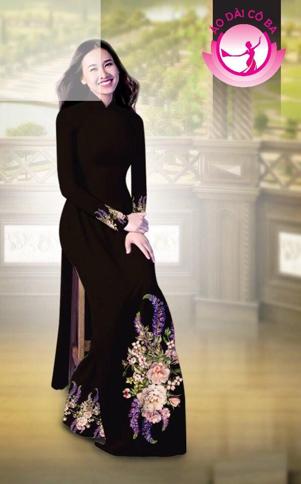 Áo dài truyền thống in hoa cẩm chướng mẫu AD B2797 - Nâu