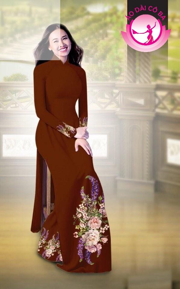 Áo dài truyền thống in hoa cẩm chướng mẫu AD B2797 - Nâu đỏ