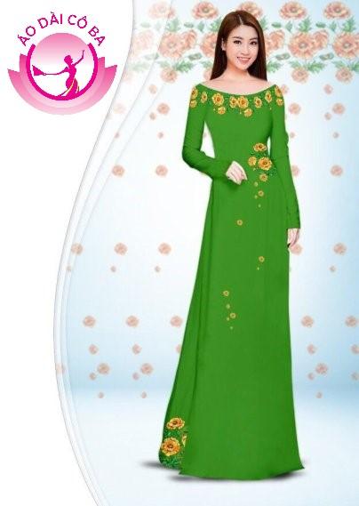 Áo dài truyền thống in hoa cẩm chướng mẫu 2