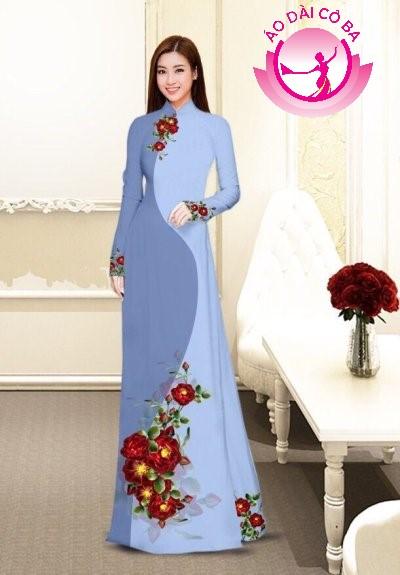 Áo dài truyền thống in hoa cẩm chướng mẫu 4