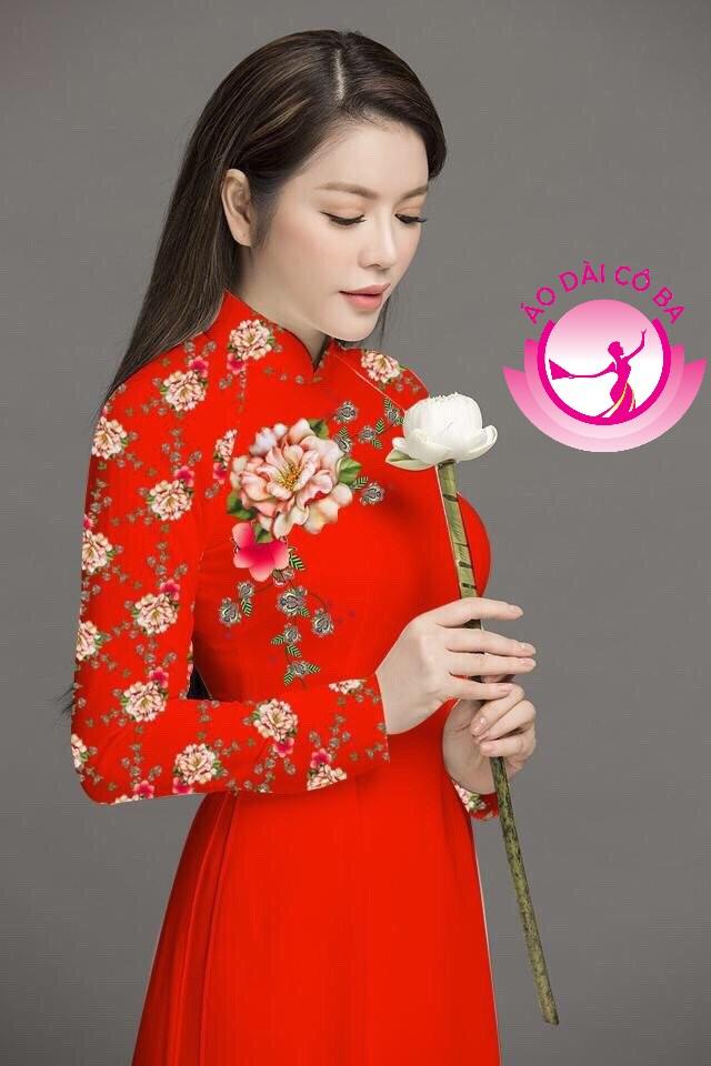 Áo dài truyền thống in hoa cẩm chướng mẫu 5