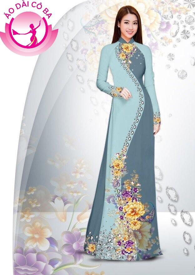Áo dài truyền thống in hoa cẩm chướng mẫu 21