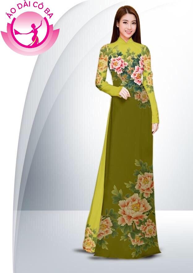 Áo dài truyền thống in hoa cẩm chướng mẫu 6