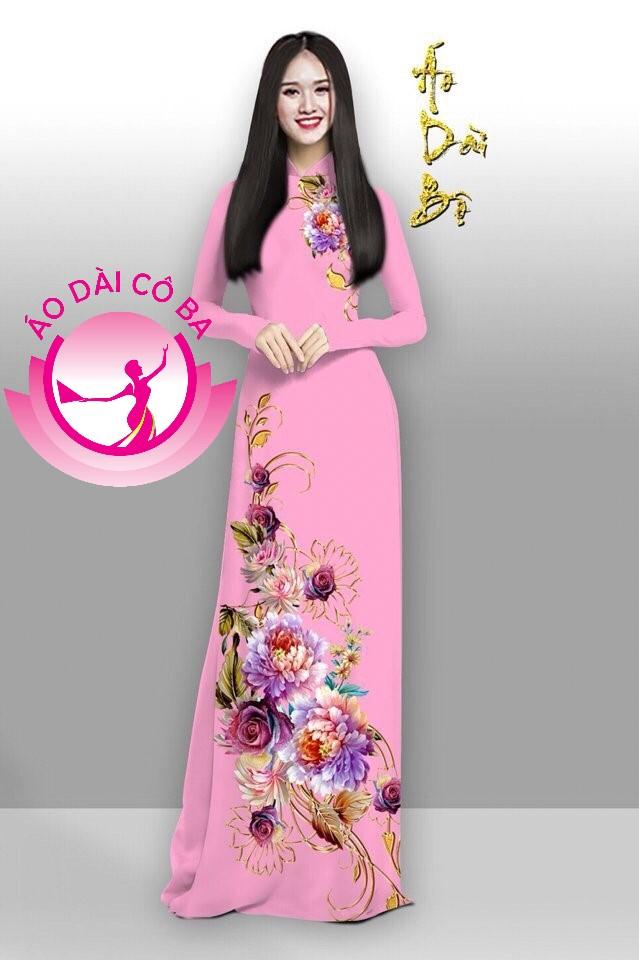 Áo dài truyền thống in hoa cẩm chướng mẫu 7