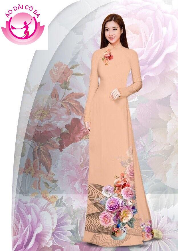 Áo dài truyền thống in hoa cẩm chướng mẫu AD B2908