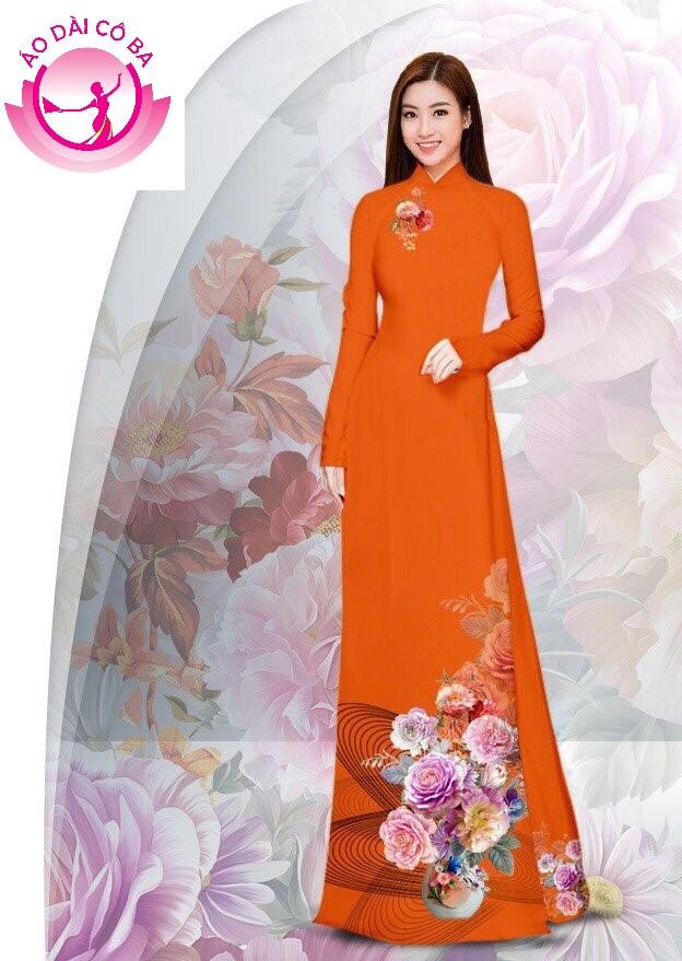 Áo dài truyền thống in hoa cẩm chướng - Cam