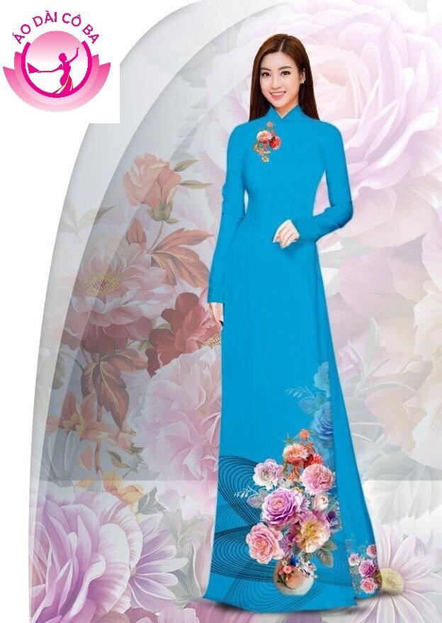 Áo dài truyền thống in hoa cẩm chướng - Xanh dương
